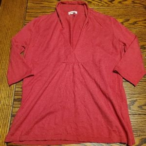 Eileen Fisher red  cotton/cashmere v neck sweater